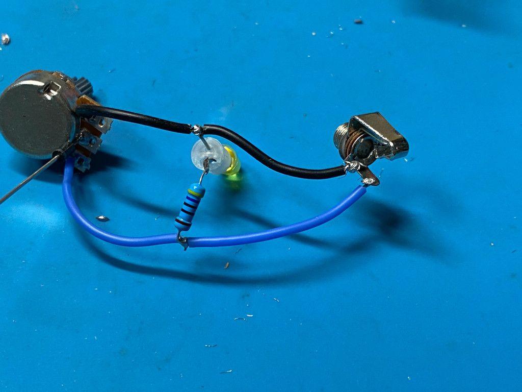 Potentiometer, LED, resistor, and audio jack subassembly